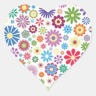 Happy flower power heart sticker