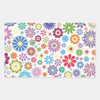 Happy flower power rectangular sticker