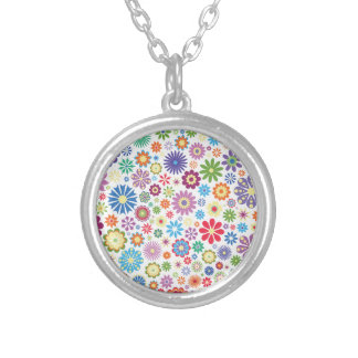 Happy flower power silver plated necklace