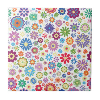 Happy flower power small square tile