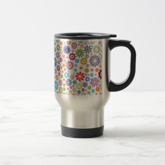 Happy flower power travel mug