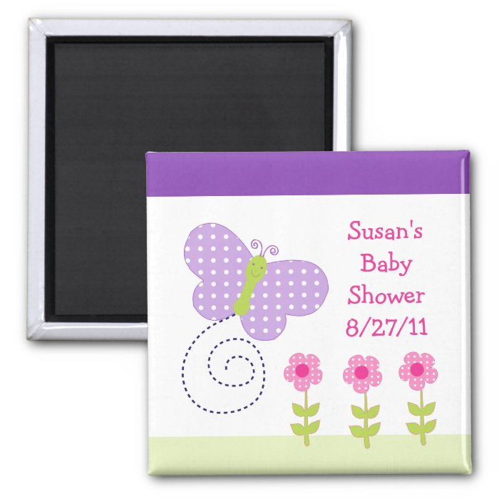 Happy Flowers & Butterfly Baby Shower Magnet