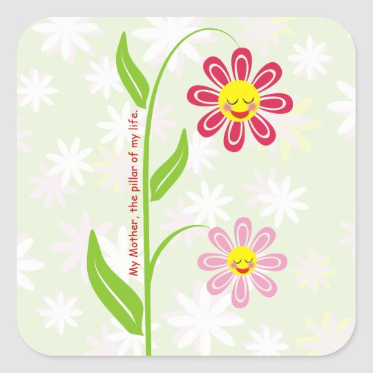 Happy flowers Mother's Day custom sticker