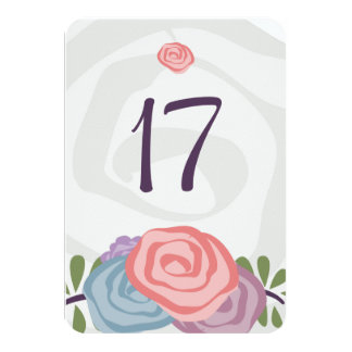 Happy Flowers Table Number Card 9 Cm X 13 Cm Invitation Card