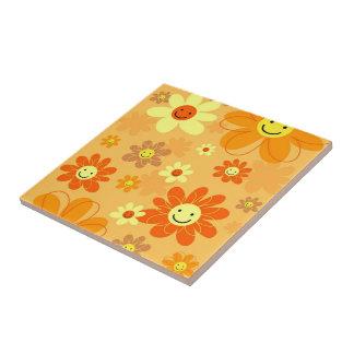 Happy Flowers Ceramic Tile