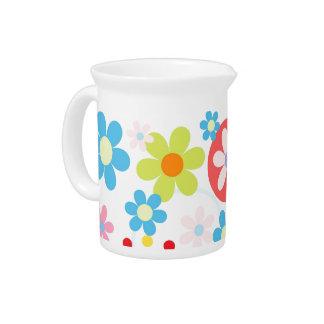 Happy flowers water jug pitcher
