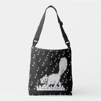 Happy Fluffy Tail White Cat Dancing on Piano Keys Crossbody Bag
