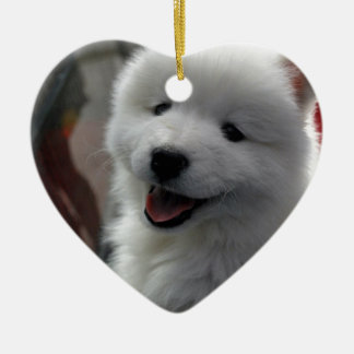 Happy Fluffy White Dog Christmas Ornament