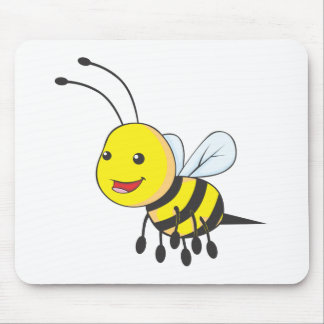 Happy Flying Bee Insect Mouse Pad