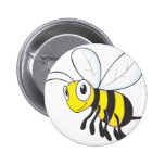 Happy Flying Bee Insect Pinback Buttons