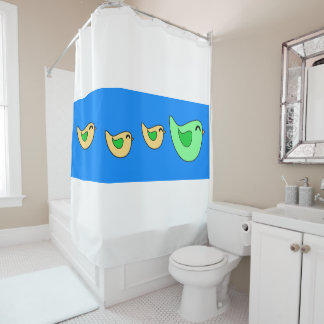 Happy flying bird family blue shower curtain