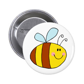 happy flying honeybee honey bee cartoon 6 cm round badge