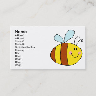 Cartoon honey bee business cards business card printing zazzle uk happy flying honeybee honey bee cartoon business card colourmoves