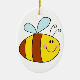 happy flying honeybee honey bee cartoon christmas ornament