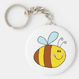 happy flying honeybee honey bee cartoon basic round button key ring