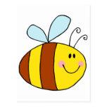 happy flying honeybee honey bee cartoon post cards