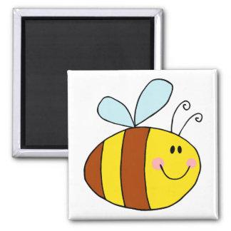 happy flying honeybee honey bee cartoon square magnet
