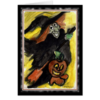 Happy Flying Witch Halloween Card