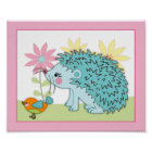Happy Forest - Hedgehog bird Nursey/Baby Art Print