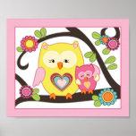 Happy Forest - Pink Owl Nursey/Baby Art Print