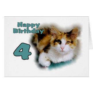 Happy Fourth Birthday Calico Cat Card