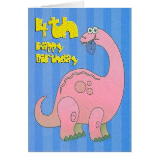 Happy Fourth Birthday Pink Dinosaur Greeting Card