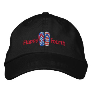 Happy Fourth Flip Flop Embroiderd Cap Embroidered Hat
