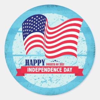 Happy Fourth of July American Flag Illustration Round Sticker