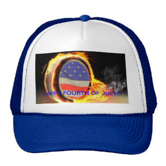 Happy Fourth of JULY HAT with flaming tire