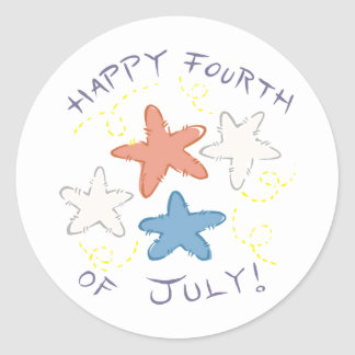 Happy Fourth of July Round Stickers