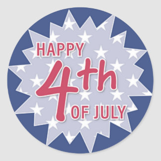 Happy Fourth of July Sticker (blue and red)