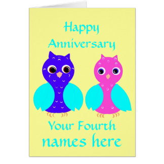 Happy Fourth Wedding Anniversary Owls Customize Greeting Card