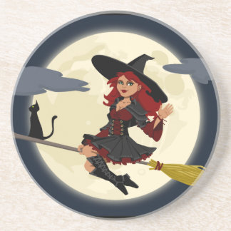 Happy Freaking Halloween Witch Coaster