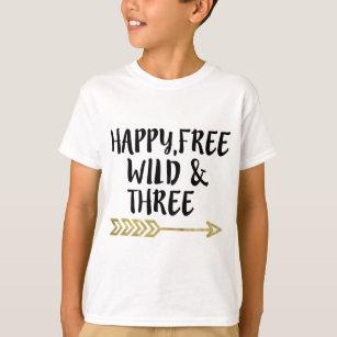 Happyfreewild Three3rd Birthday Boy T Shirt