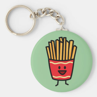 Happy French Fries Basic Round Button Key Ring