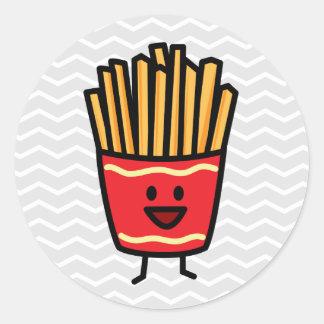 Happy French Fries Round Sticker