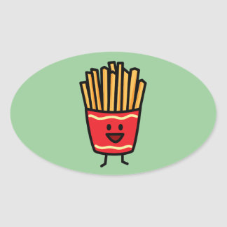 Happy French Fries Oval Sticker