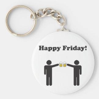 Happy Friday! Basic Round Button Key Ring