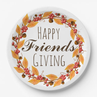 Happy Friends Giving Fall Autumn Leaves Wreath Paper Plate