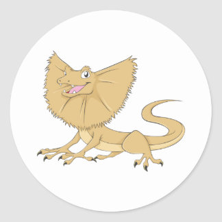 Happy Frilled Lizard Smiling Round Sticker