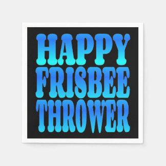 Happy Frisbee Thrower in Blue Disposable Serviette