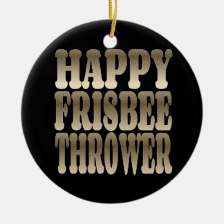 Happy Frisbee Thrower in Silver Christmas Ornament