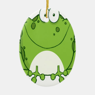 Happy Frog Cartoon Character Ceramic Oval Decoration