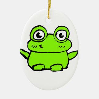 Happy Frog Ceramic Oval Decoration