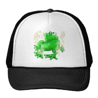 happy frog in bubbles cap