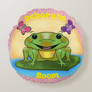 Happy Frog Round Pillow