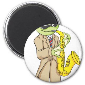 Happy Frog Saxophone Artist 6 Cm Round Magnet