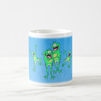 Happy Frogs and Dragonfly Mug