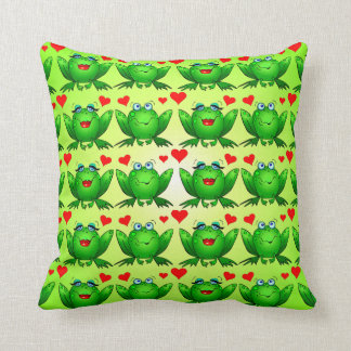 Happy Frogs Cartoon Love Hearts Green Cushion