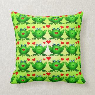 Happy Frogs Cartoon Love Hearts Green Throw Pillow